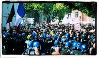 Demonstration am 7.8.2021 in Paris, Frankreich.