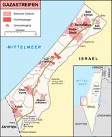 Karte des Gazastreifens, Stand Dezember 2008