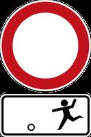 Zeichenkombination für die Spielstraße. Diese Beschilderungskombination mit Zeichen 250 wurde 1971 in Westdeutschland rechtsgültig.