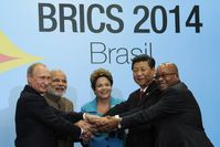 BRICS leaders at the 6th BRICS summit in Fortaleza, Brazil. Left to right: Putin, Modi, Rousseff, Xi and Zuma.