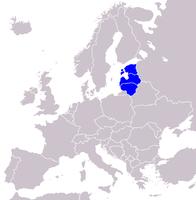 Lage des Baltikums in Europa. (Von Nord nach Süd:  Estland,  Lettland,  Litauen).