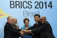BRICS leaders at the 6th BRICS summit in Fortaleza, Brazil. Left to right: Putin, Modi, Rousseff, Xi and Zuma.