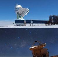 Das 10-m-Radioteleskop am Südpol (oben) und Atacama Pathfinder Experiment in Chile (unten). Die Basislinie zwischen beiden Teleskopen beträgt über 7000 km.