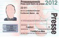 Presseausweis für 2012 Bild: Benutzer Inforadio / de.wikipedia.org