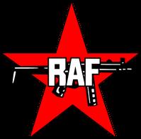 Das Logo der RAF: Ein Roter Stern und eine Maschinenpistole Heckler & Koch MP5