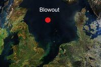 Lage des Erdgas-Lecks in der Nordsee. Bild: NASA / wikipedia.org