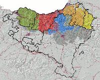 Dialekte des Baskischen.[1] Biskayisch Gipuzkoanisch Obernavarrisch Niedernavarrisch Soulisch - Baskisch sprechende Orte im 19. Jahrhundert (nach einer Karte von Louis-Lucien Bonaparte)
