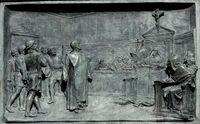 Relief: Giordano Bruno vor der Inquisitionskommission (Symbolbild)