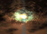 Gigantische Wolken aus heißem Gas umkreisen die Schwarzen Löcher und verdunkeln ihre Umgebung wie ei Quelle: NASA (idw)