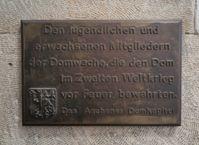 Gedenktafel für die Domwache während des Zweiten Weltkriegs im Aachener Dom