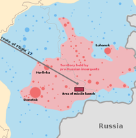 MH17: Presumed route ending in an area controlled by pro-Russian rebels