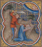 Bible historiale, Buch der Makkabäer, Hinrichtung eines Abtrünnigen, Bild: Martina Sitt, Universität Kassel.