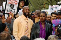 Trayvon Martins Eltern bei einer Demonstration in New York am 21. März 2012