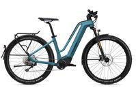 Wuchtige E-MTB-Reifen, 120 mm Federweg aber sonst ganz Trekking-E-Bike.