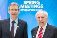 Finanzminister Hartwig Löger und der Gouverneur der Nationalbank Ewald Nowotny (2018)