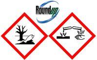 Glyphosat / Roundup: Ätzend und umweltgefährlich. Diese Informationen finden sich auf der Verpackung.