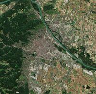 Sentinel-2-Satellitenfoto Wiens von 2018