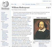 Shakespeare auf Wikipedia: bebildert dank Public Domain. Bild: Screenshot: pressetext
