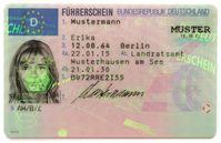 EU-Führerscheinkarte (Layout 2013), in Deutschland seit 1999 ausgestelltVorderseite 1. Nachname 2. Vorname 3. Geburtsdatum und -ort 4a. Ausstellungsdatum 4b. Führerschein gültig bis (in Deutschland derzeit nicht belegt) 4c. ausstellende Behörde 5. Führerscheinnummer 7. Unterschrift des Inhabers 9. Fahrerlaubnisklasse(n)
