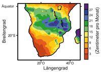 Niederschlagsmengen im südlichen Afrika angegeben in Zentimetern pro Monat im Südsommer (Dezember bis Februar) Quelle: Abb.: MARUM, Universität Bremen (idw)
