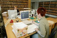 Mitarbeiter des Verkehrszentralregisters im Kraftfahrt-Bundesamt (KBA) . Bild: KBA / Eisermann Photography