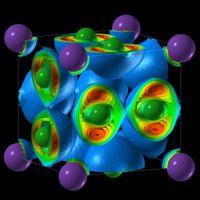 Die Elektronenlokalisation in der kubischen NaCl3-Struktur. Quelle: Abbildung: Artem Oganov/Stony Brook University (idw)