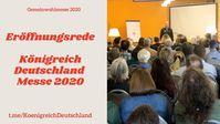 Peter I, bürgerlich Peter Fitzek, hält die Eröffnungsrede auf der Königreich Deutschland Messe 2020.