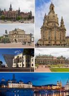 Collage von Dresden: Frauenkirche, Residenzschloss, Semperoper, Militärhistorisches Museum, Zwinger, Nachtpanorama