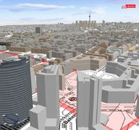 Am Computerbildschirm kann im heutigen Berlin der Verlauf von Mauer und Todesstreifen virtuell sichtbar gemacht werden. Quelle: Hasso-Plattner-Institut für Softwaresystemtechnik