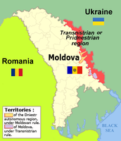 Transnistrian region of Moldova, landlocked along the border with Ukraine