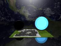 Größenvergleich eines stellaren schwarzen Lochs, eines Neutronensterns und einer simulierten Stadt auf einer quadratischen Fläche mit einer Kantenlänge von 40 km