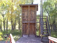 Double decker outhouse at the Grand Encampment Museum, September 2011