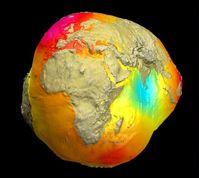 chwerefeldmodell der Erde (in stark überhöhter Form) Bild: Achim Helm, GFZ