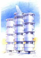 So könnten die Anlagen aussehen, die in großen Mengen Trinkwasser aus der Luftfeuchtigkeit gewinnen. Bild: Logos Innovationen