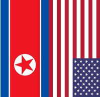 Flaggen von Nordkorea und den Vereinigten Staaten von Amerika (USA/VSA): Ein Stern gegen viele...
