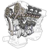 Querschnittszeichnung eines Sechszylinder-V-Motors