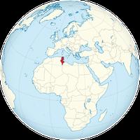 Tunesien auf der Weltkarte.