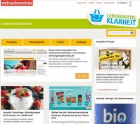 Bild: Screenshot der Webseite www.lebensmittelklarheit.de
