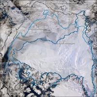 Die bisher geringste direkt gemessene Ausdehnung des arktischen Meereises von September 2007 im Vergleich zum vorherigen Rekord-Minimum 2005 sowie dem mittleren Minimum der Jahre 1979 bis 2000. Eine animierte Grafik findet sich hier (6,88 MB).