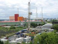 Etwa drei Monate wird die Bohranlage für die INFLUINS-Forschungsbohrung im Erfurter Norden im Einsatz sein.