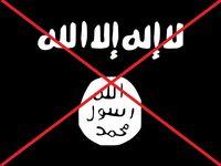 Durchgestrichene Flagge Islamischer Staat