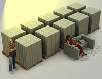 Größenvergleich: Das ist eine Milliarde Euro in 100 Euro-Scheinen. Um dies zu erwirtschaften müßte ein durchschnittlicher Arbeiter 92.000 Jahre arbeiten. Die Couch in der Mitte ist knapp 47 Millionen Euro schwer.