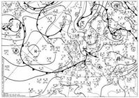 Eine Wetterkarte (Bodenwetterkarte) für Europa und den Nordatlantik (Symbolbild)