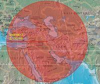 Reichweite der Shahab 3, eine weiterentwickelte nordkoreanische Mittelstreckenrakete, die sowohl militärisch als auch in einer erweiterten Version (Safir) für die iranische Weltraumorganisation Verwendung findet. Bild: wikipedia.org