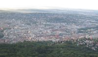 Blick vom Stuttgarter Fernsehturm Richtung Innenstadt
