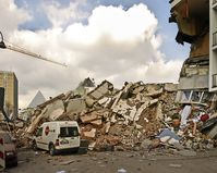 3. März 2009: Das Kölner Stadtarchiv unmittelbar nach dem Einsturz