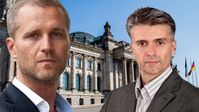 Petr Bystron und Marc Jongen, MdB, Abgeordnete der AfD-Bundestagsfraktion