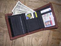 Brieftasche als eine Art des Geldbeutels