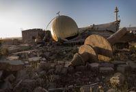 Moschee in Sinjar, Irak, 2014 vom IS zerstört. Die Trümmer wurden mit Sprengfallen versehen. Bild: Handicap International e.V. Fotograf: Florent Vergnes