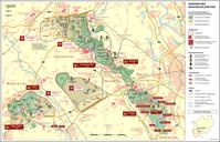 """Lage des noch erhaltenen Teils """"Hambacher Forst"""" zwischen Braunkohle-Abbruchkante und A4/RWE-Hambachbahn im Bereich Morschenich (alt) und Manheim (alt)"""